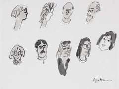 Monochromatic Portrait Studies of Various People in Ink & Charcoal, 20th Century