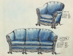 Blue Sofa Design in Ink and Pastel, Early 20th Century