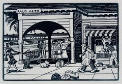 Palo Alto Train Station, Linocut Print, 1940s