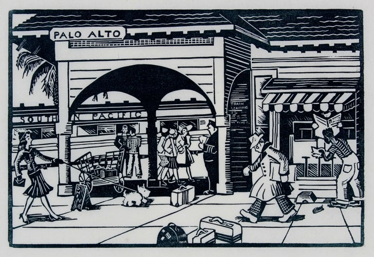 Palo Alto Train Station, Linocut Print, 1940s