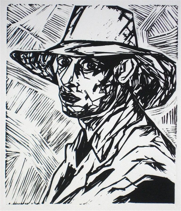 """Rob Delamater Portrait Print - """"Duncan Grant I"""" Linoleum Block Print, 2009"""
