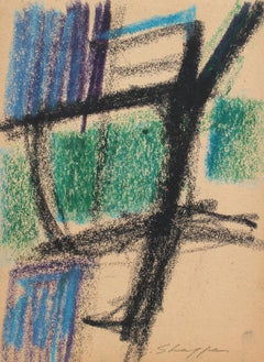 Abstract Expressionist Pastel Drawing, 1958