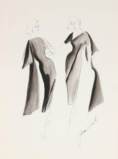Black Evening Gown Fashion Illustration in Gouache, 1950s