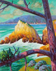 Carmel Seascape with Rocks and Trees in Oil, 20th Century