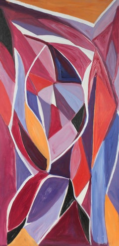 """Autumn Leaves"" Cubist Abstract in Oil, 20th Century"