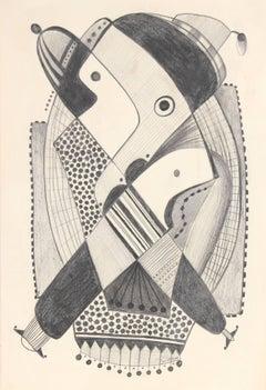 Monochromatic Abstract in Graphite, Circa 1970s