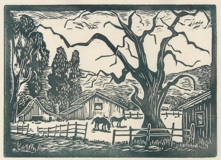 Bay Area Ranch Landscape, Linocut, Circa 1940s
