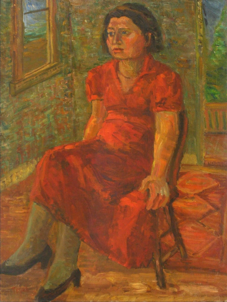 """Portrait of Pearl"" Expressionist Portrait in Oil, 1935 - Painting by Jennings Tofel"