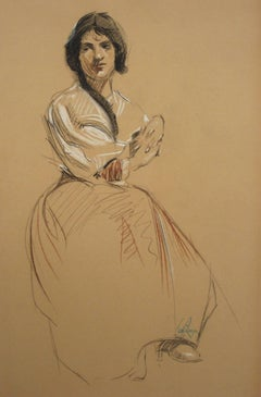 Seated Portrait of a Woman in Charcoal and Pastel, Circa 1905, Framed