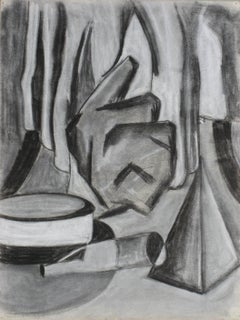Monochromatic Modern Abstract Still Life in Charcoal w Black Grey, Mid-Century