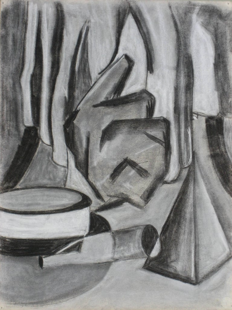 Abstracted Still Life in Charcoal, Mid-Century