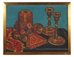 """""""Still Life with Candle Sticks"""" Oil Painting, Mid 20th Century"""