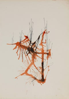 Drip Abstract in Orange, Ink and Watercolor, 20th Century