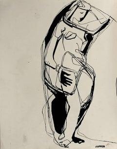Monochromatic Expressionist Figure, Lithograph, Circa 1950