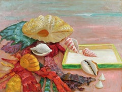 Still Life with Seashells, Oil on Masonite Painting, 20th Century