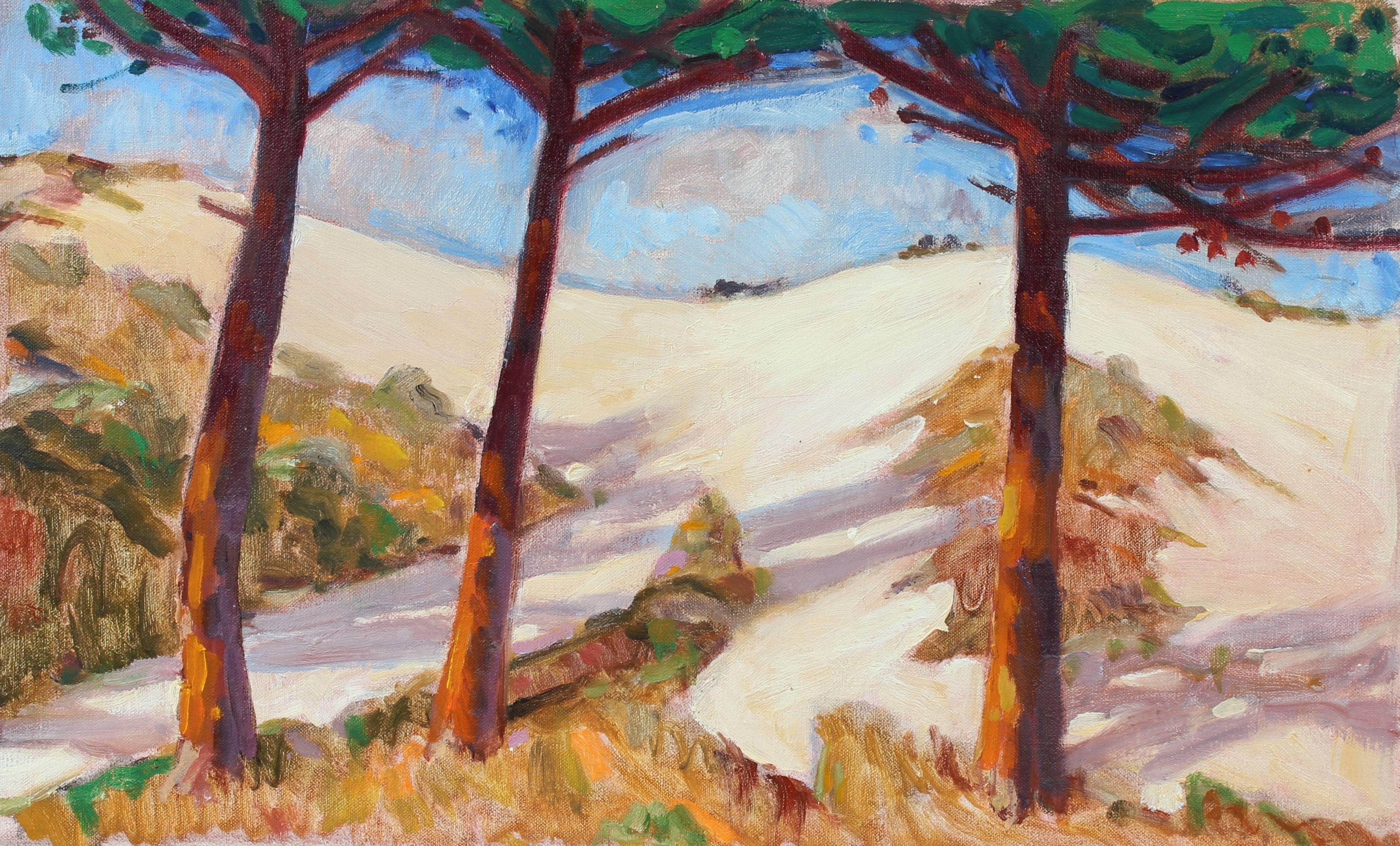 Coastal Sand Dunes & Cypress, Oil on Linen Landscape Painting, 20th Century