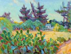 Cactus Garden Among Trees, Oil Landscape, 20th Century