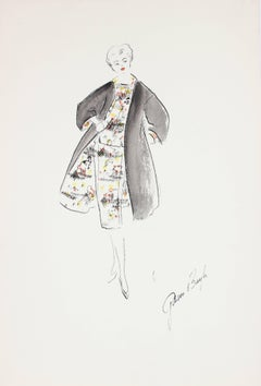 Fashion Illustration in Gouache, 1950s