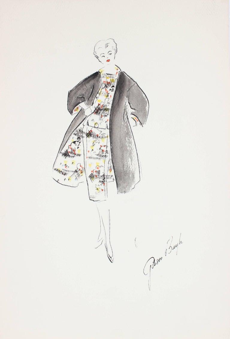 Fashion Illustration in Gouache, 1950s