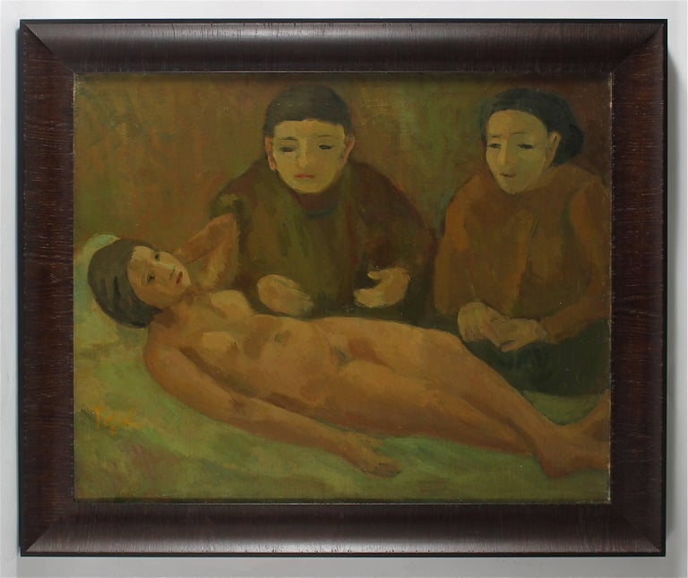 """""""Women with Nude"""" Early Expressionist Oil Painting, 1929"""