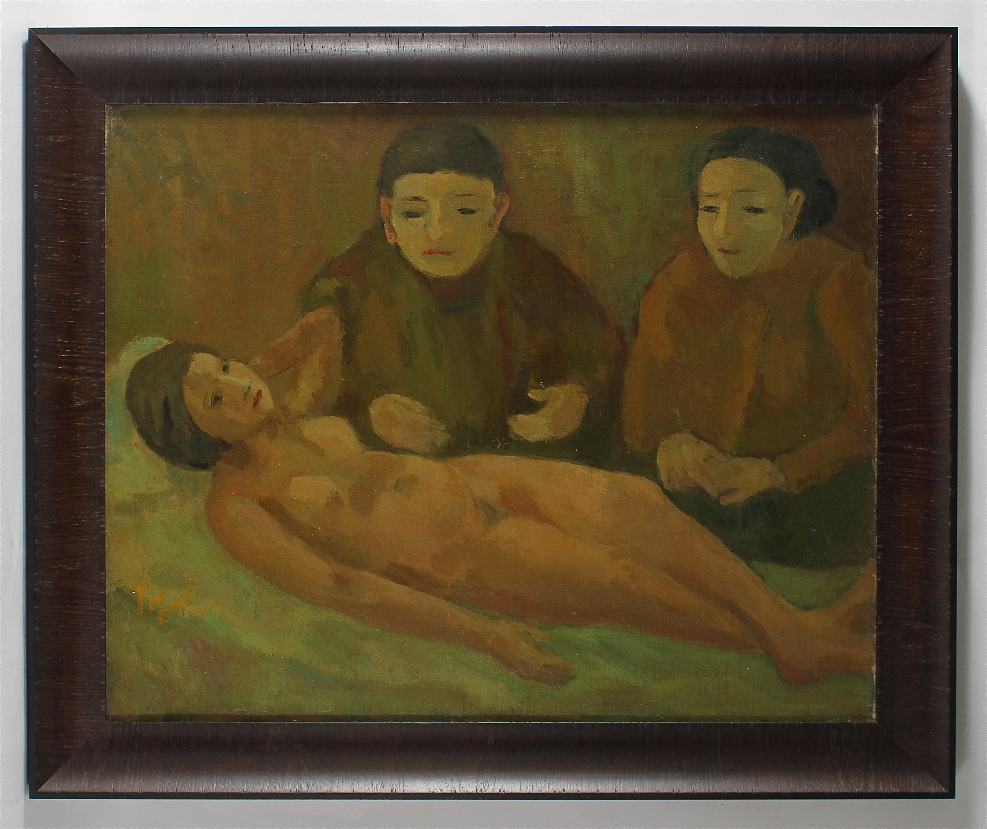 """Women with Nude"" Early Expressionist Oil Painting, 1929"