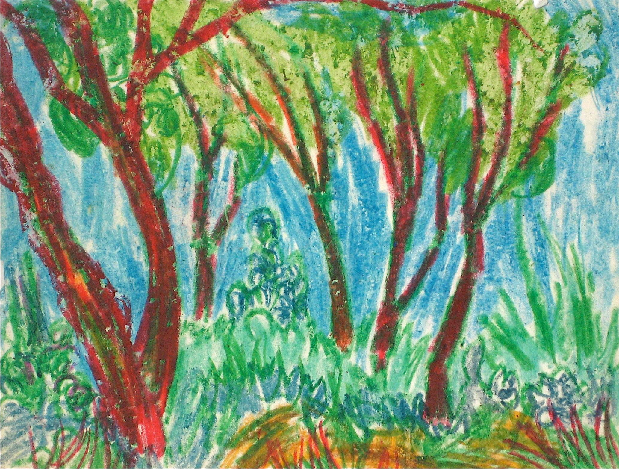 Colorful Trees in a Forest Grove, Expressionist Oil Pastel Drawing, Circa 1960