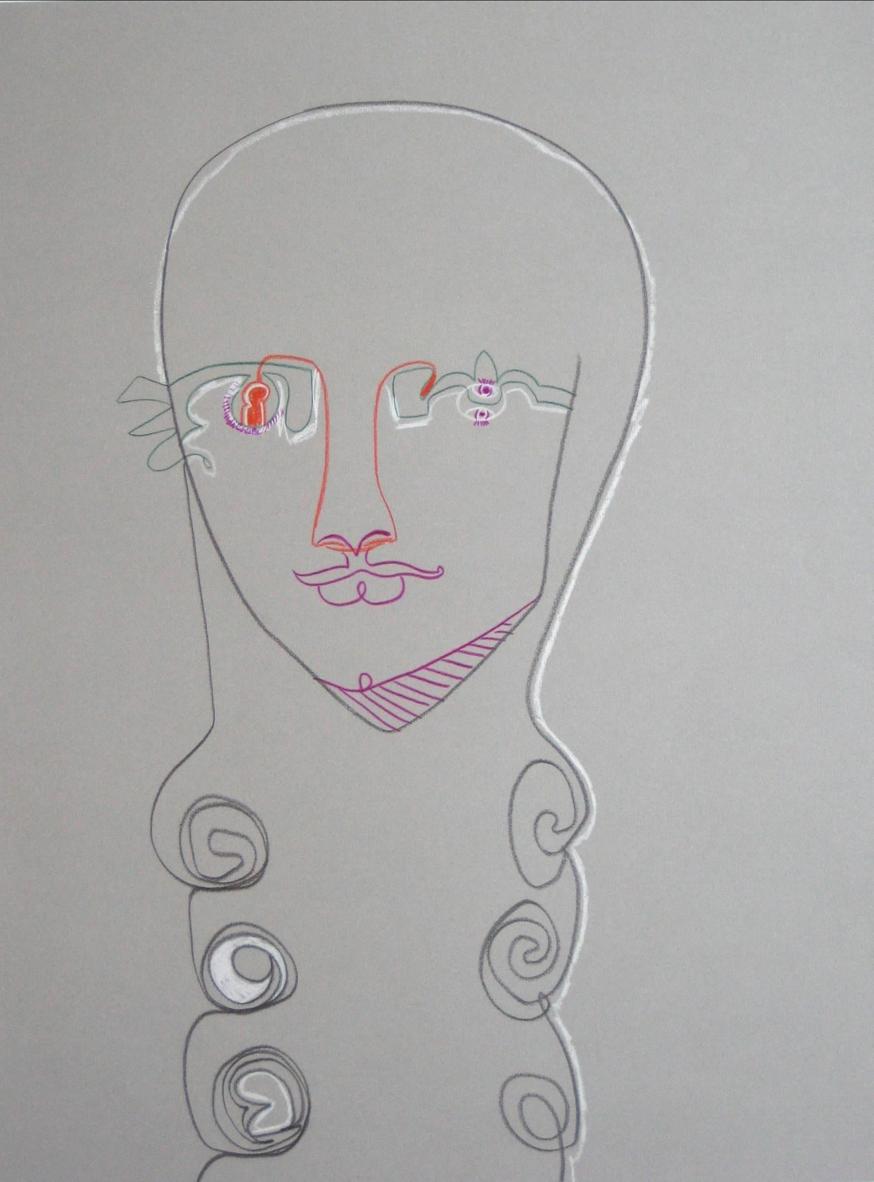 Surrealist Portrait Drawing in Pastel, Late 20th Century