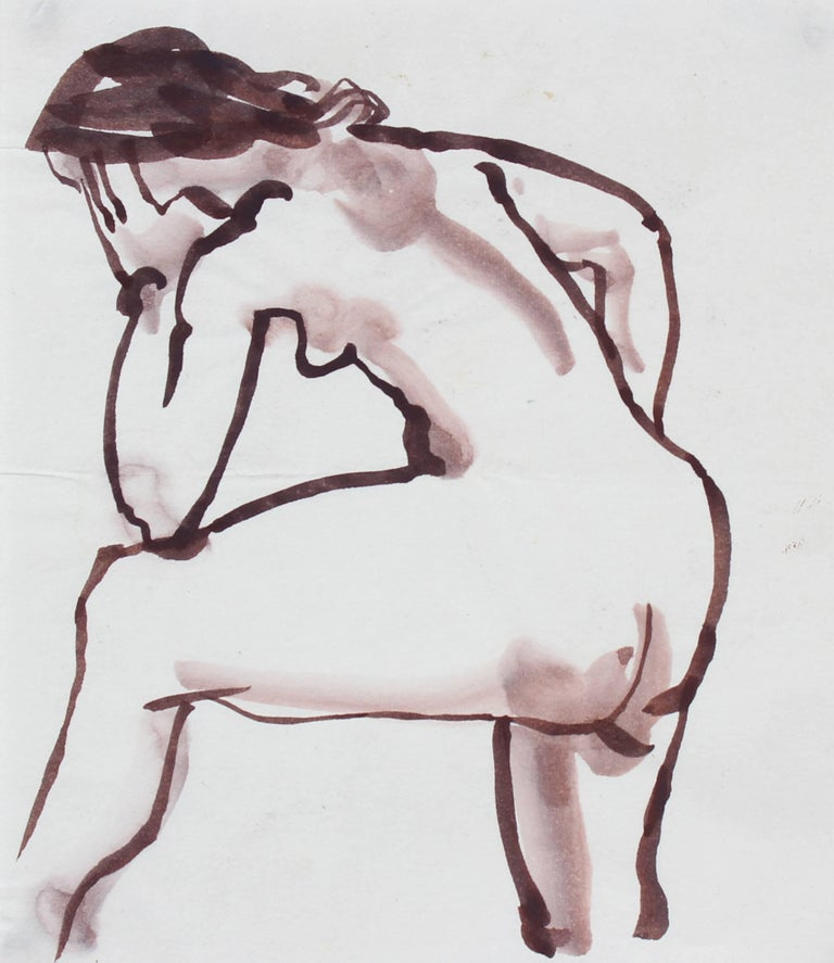 Rip Matteson Nude - Modernist Figure in Ink Wash, 20th Century