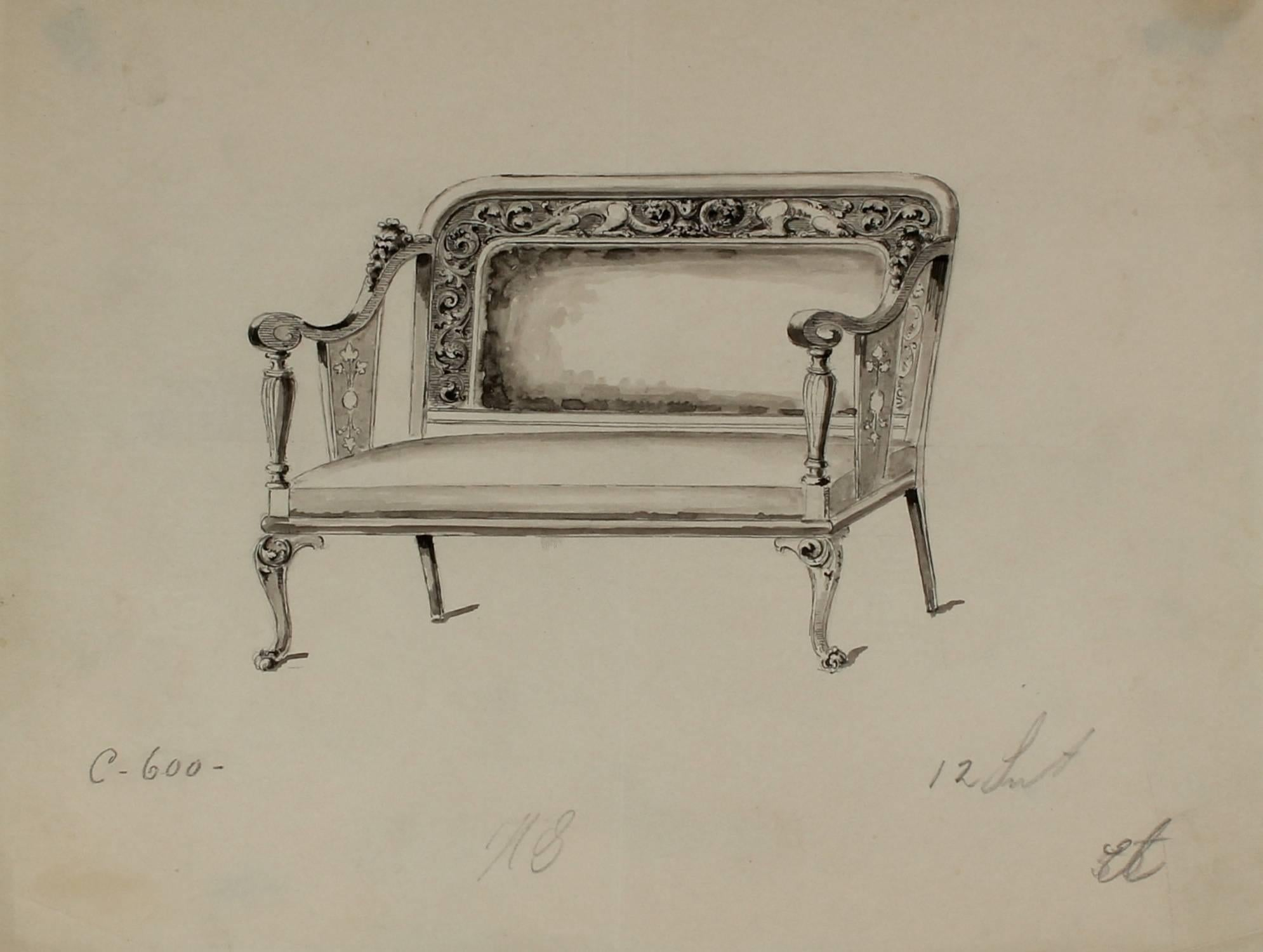 Study of a Settee, Ink and Graphite, Circa 1920s