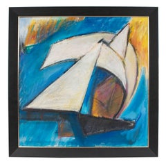 """""""White Sails"""" Modernist Abstract with Blue, Circa 1960s"""