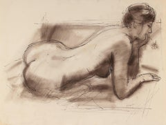 Monochromatic Female Nude in Charcoal, Mid 20th Century