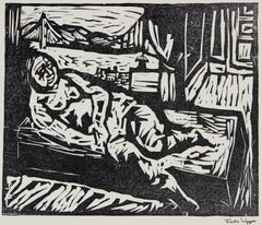 Figure by the San Francisco Bay, Framed Mid Century Linocut