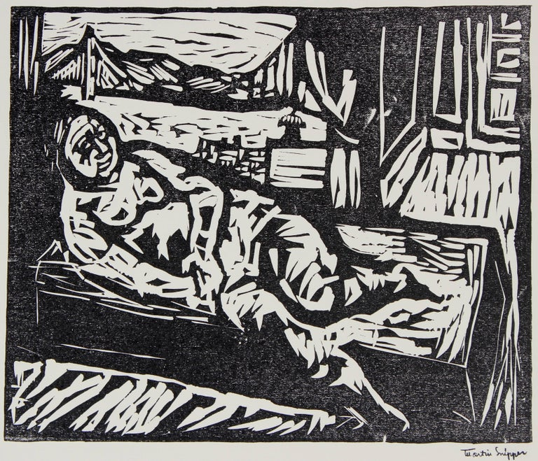 Martin Snipper Figurative Print - Figure by the San Francisco Bay, Framed Mid Century Linocut