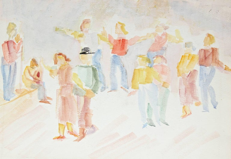 Dancing Couples in a Crowd, Early 20th Century Watercolor