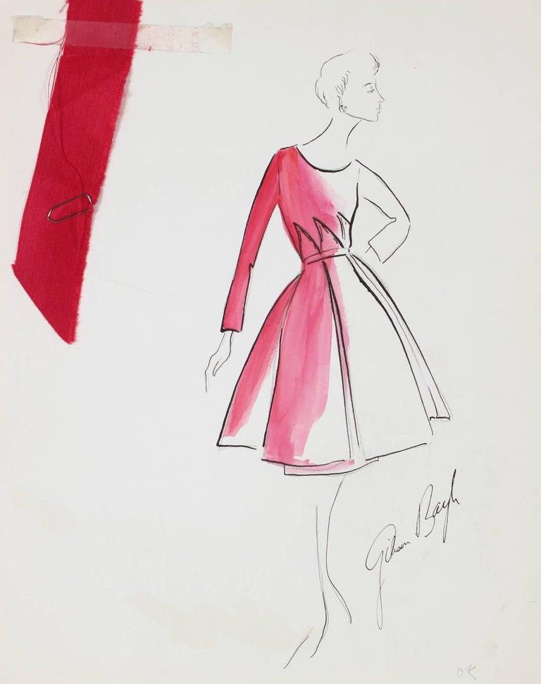 Pink Evening Dress Fashion Illustration in Ink, 1950s