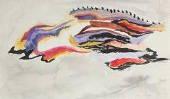 Modernist Abstract in Gouache, Framed, 1967