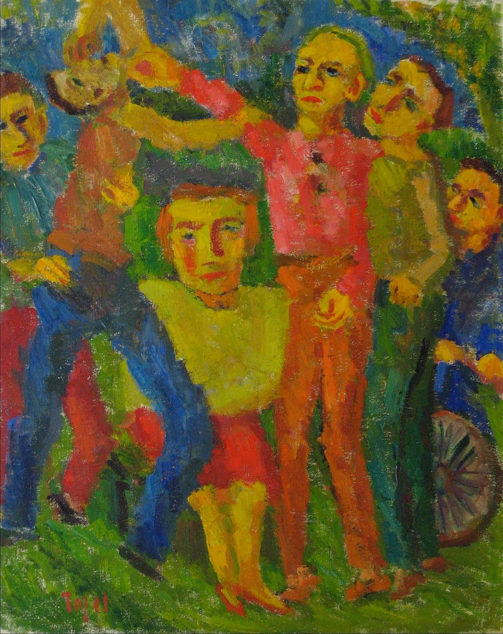 """""""Rivals"""" Expressionist Figures in Oil, 1953"""