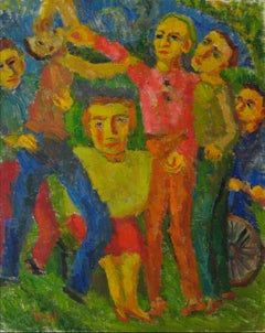 """Rivals"" Expressionist Figures in Oil, 1953"