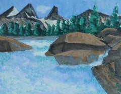 """Alaska Scape"" Framed Lake and Mountain Landscape in Acrylic, 2009"