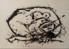 Abstracted Modernist Figure in Ink, 1960s