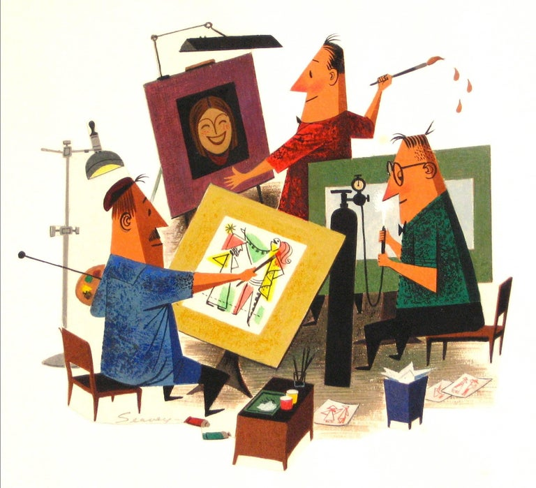 The Art Department, Gouache on Paper Figures, Mid- Century