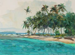 """Tuala, Coco Bandero"" Tropical Landscape, Framed Oil on Paper, 1998"