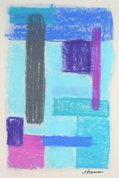 Geometric Abstract in Blue Pastel, Circa 1960