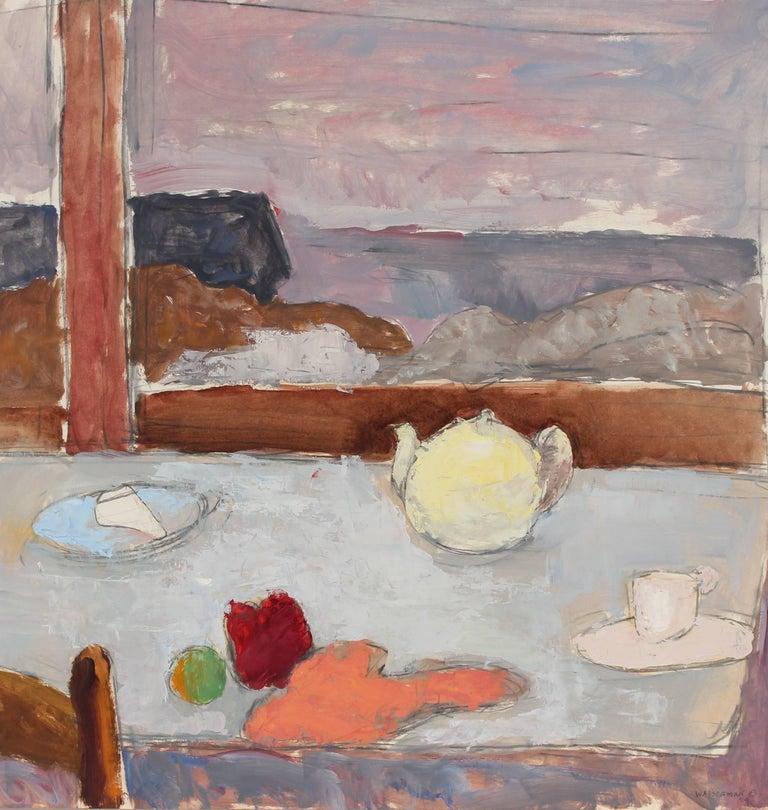 Paint Window Sill Interior: Window Sill With Tea Pot, Still Life In