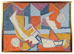 Colorful Cubist Boats, Oil on Canvas, Mid- Century