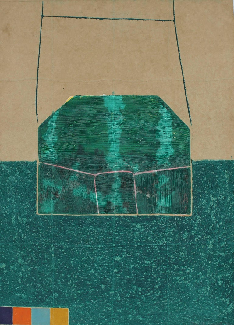 """""""House Grid"""" Large Abstract Collograph Print in Green, 1988"""