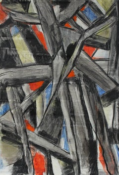 Abstract Expressionist Painting with Black, Mid 20th Century