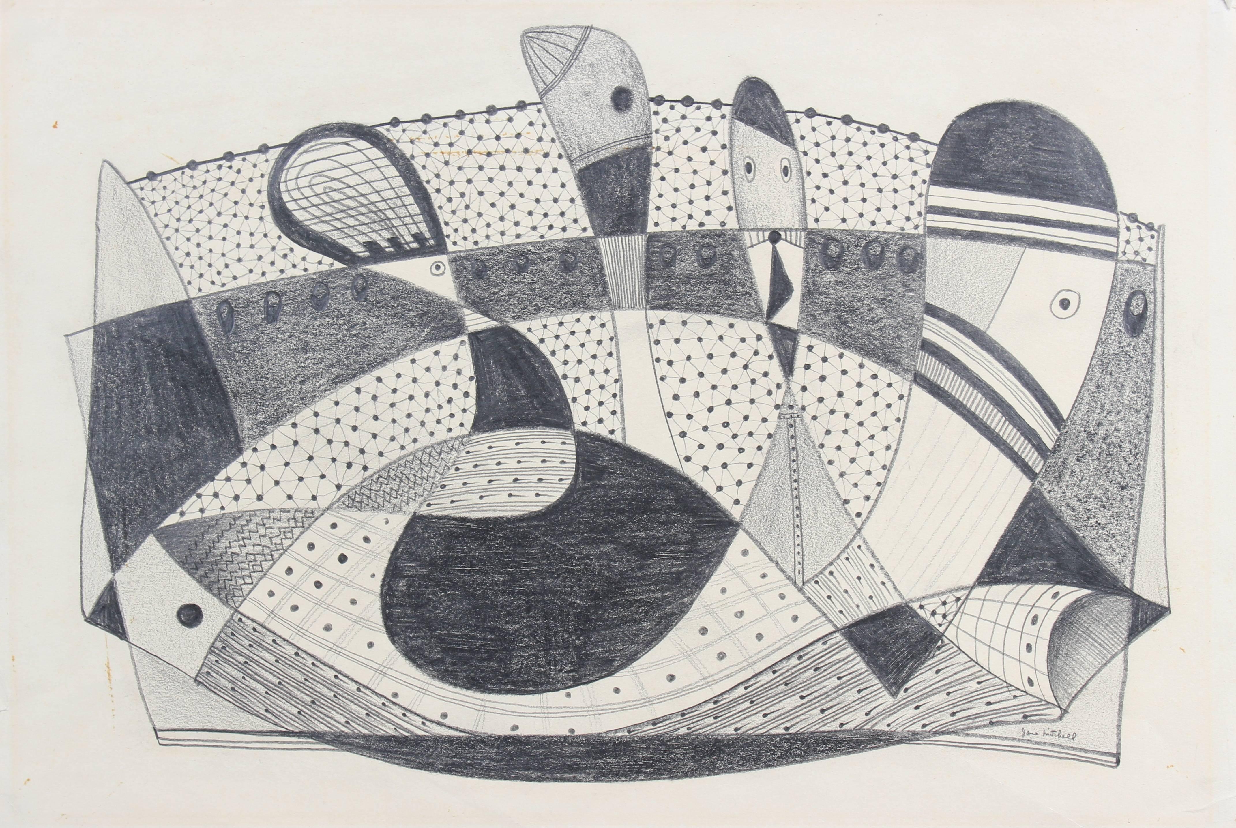 Cubist Figurative Abstract in Graphite, Circa 1970s