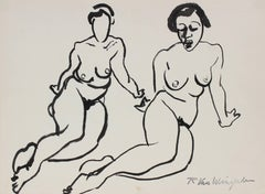 Two Figures in Ink, Mid 20th Century