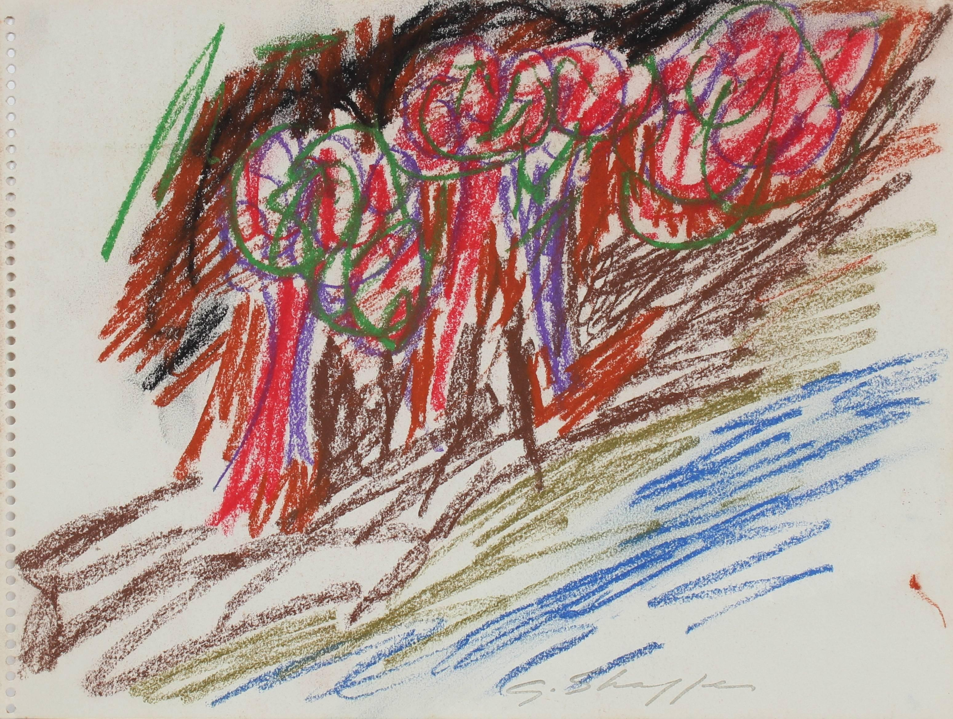 Colorful Abstract Expressionist Study in Pastel with Red and Blue, 1963